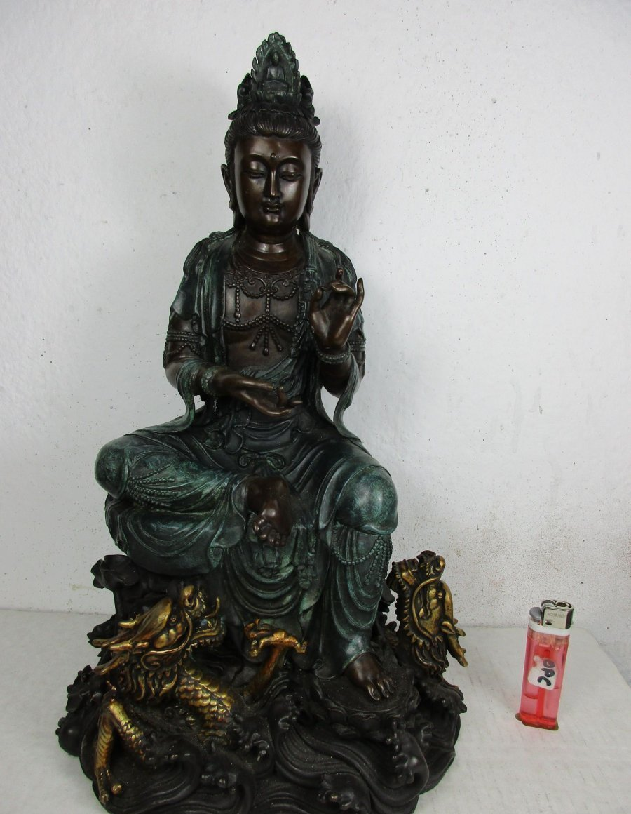 guan yin buddha g ttin drachen original altes einzelst ck bronze neckargem nd. Black Bedroom Furniture Sets. Home Design Ideas