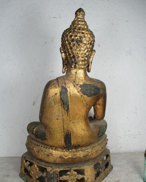 uralter bronze buddha aus ayutthaya siam thailand original echt vergoldet 39cm ebay. Black Bedroom Furniture Sets. Home Design Ideas