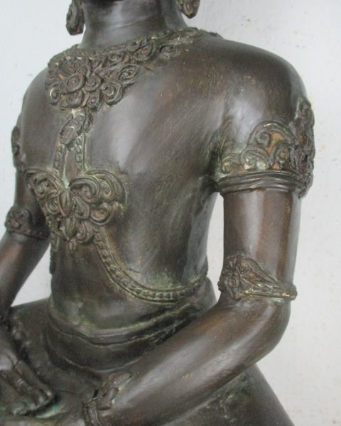 alte grosse buddha statue aus thailand 1965 bronze ayutthaya stil 61cm 14kg. Black Bedroom Furniture Sets. Home Design Ideas