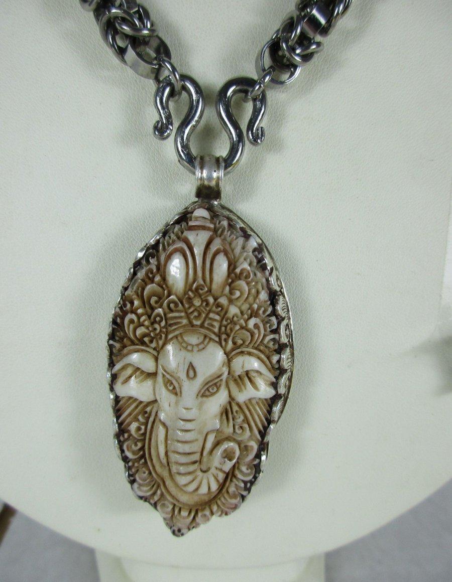 ganesha elefant buddha 925 silber knochen bein amulett. Black Bedroom Furniture Sets. Home Design Ideas