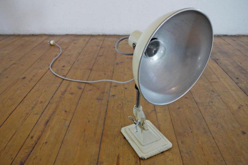 schreibtischlampe antik architektenlampe werkstattlampe metall tischlampe rund ebay. Black Bedroom Furniture Sets. Home Design Ideas