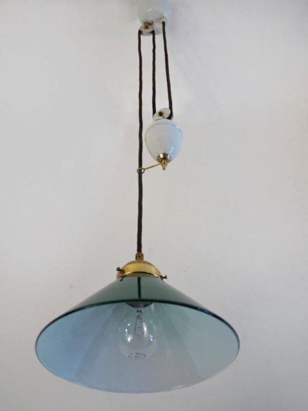 emb lampe antik pendelleuchte pendelzugleuchte gr n. Black Bedroom Furniture Sets. Home Design Ideas