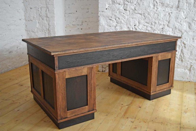 schreibtisch gro antik kontor holz alt gr nderzeit b ro loft vintage eiche ebay. Black Bedroom Furniture Sets. Home Design Ideas