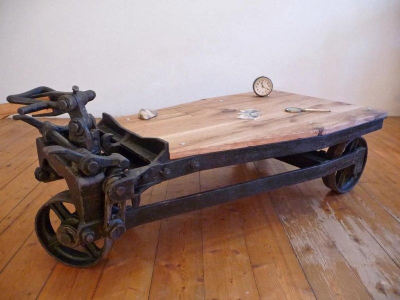 Rollpalette Vintage Loft Tisch Couchtisch rollbar 2 WK