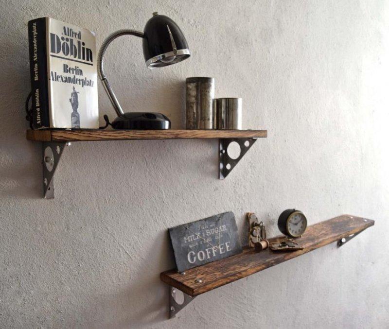 wandregal loft vintage eiche wandboard regal industriedesign holz edelstahl ebay. Black Bedroom Furniture Sets. Home Design Ideas