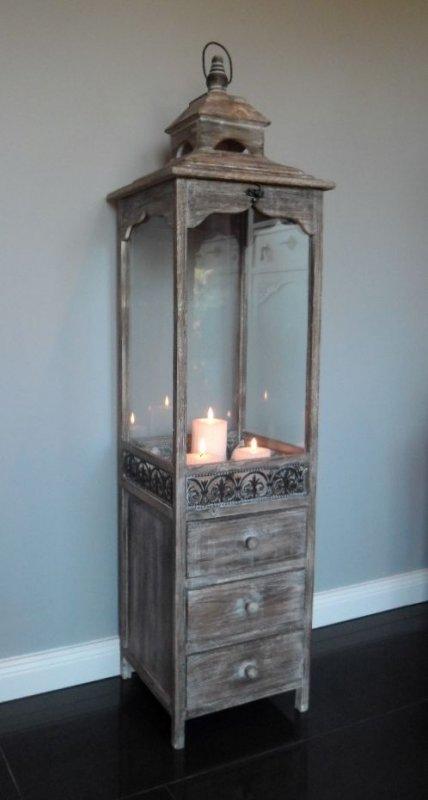 xxl holz laterne mit schubladen antik look braun 124 cm landhaus shabby chic ebay. Black Bedroom Furniture Sets. Home Design Ideas