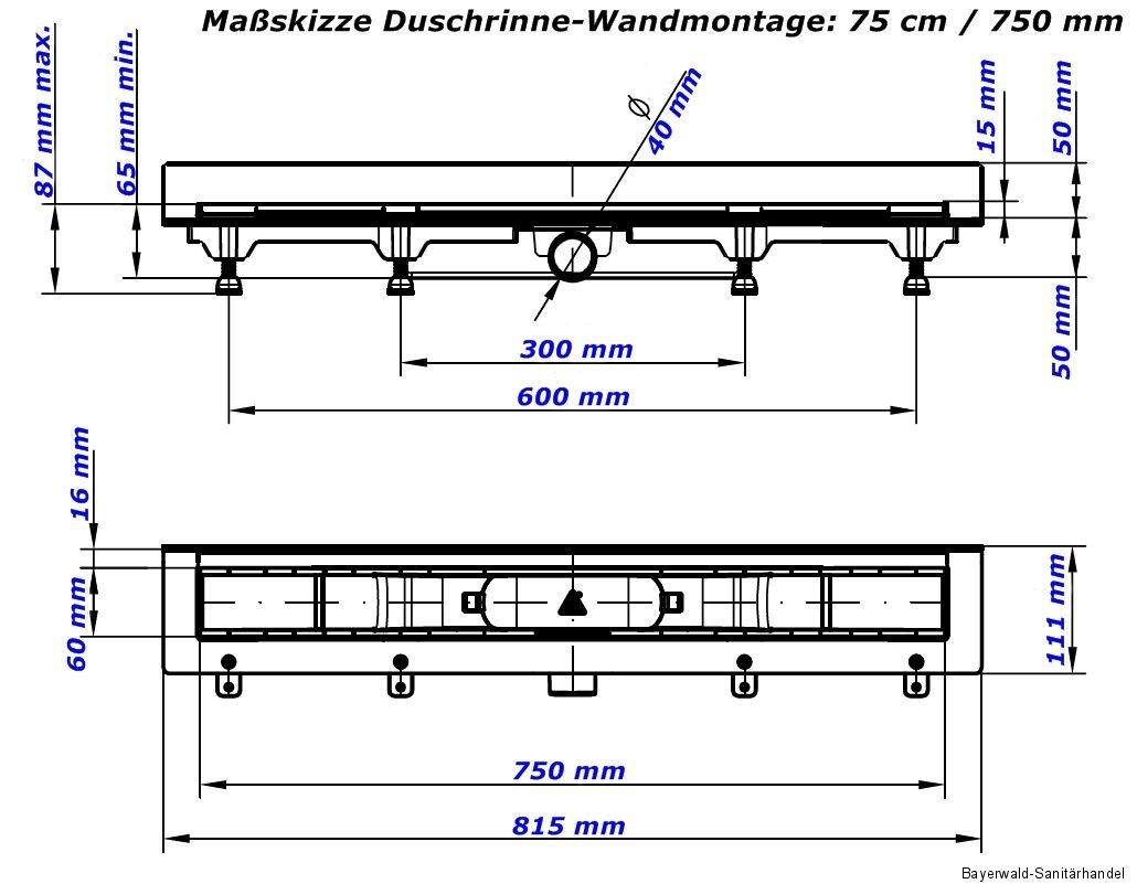 edelstahl duschrinne bodenablauf duschablauf ablaufrinne flach 35 45 65 75 85 cm ebay. Black Bedroom Furniture Sets. Home Design Ideas