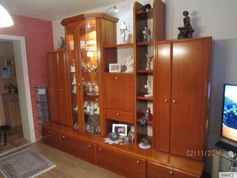 musterring kirschbaum wohnwand natur holz mit glasvitrine top erhalten np 7675 ebay. Black Bedroom Furniture Sets. Home Design Ideas