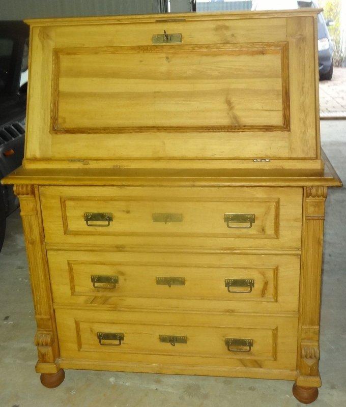 alter weichholz sekret r schubladen verzapft schreib schrank massiv holz antik ebay. Black Bedroom Furniture Sets. Home Design Ideas