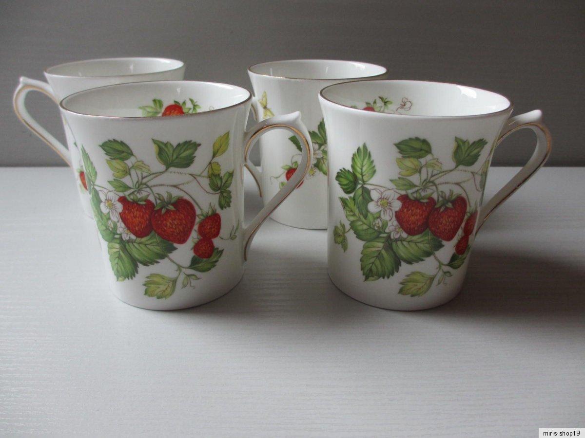 4 becher fine bone china porzellan erdbeeren queens rosina virgina strawberry ebay. Black Bedroom Furniture Sets. Home Design Ideas
