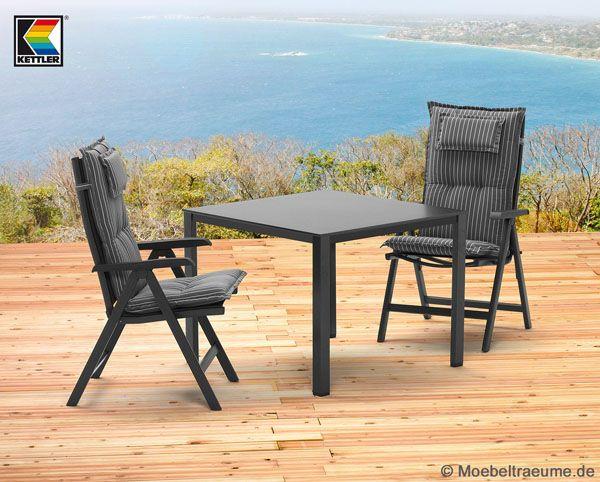 1 tisch 95 x 95 cm 2 klappsessel 2 auflagen kettler basic plus gartenm bel ebay. Black Bedroom Furniture Sets. Home Design Ideas