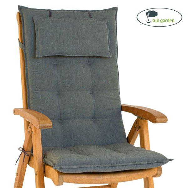 2 x gartenpolster mit kopfkissen f r hochlehner gartenstuhl klappsessel sessel ebay. Black Bedroom Furniture Sets. Home Design Ideas