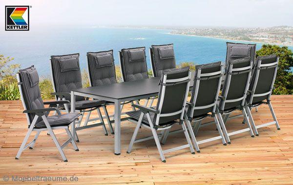 1 tisch 279 x 94 cm 10 klappsessel 10 auflagen kettler basic plus gartenm bel ebay. Black Bedroom Furniture Sets. Home Design Ideas