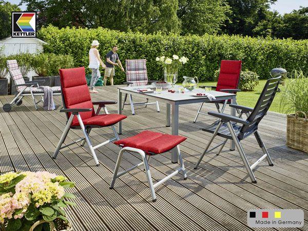 6 kettler wave gartenstuhl in silber anthrazit aluminium kunststoff klappsessel ebay. Black Bedroom Furniture Sets. Home Design Ideas