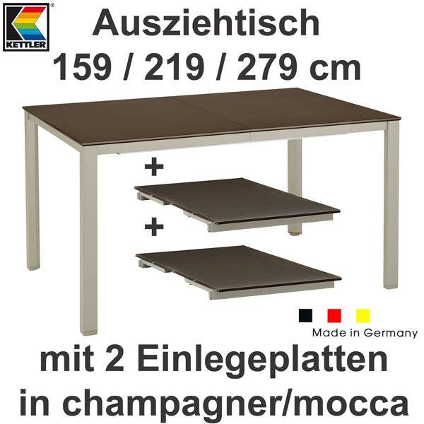kettler basic plus gartenm bel 1 ausziehtisch 279 cm und 10 klappsessel in mocca ebay. Black Bedroom Furniture Sets. Home Design Ideas