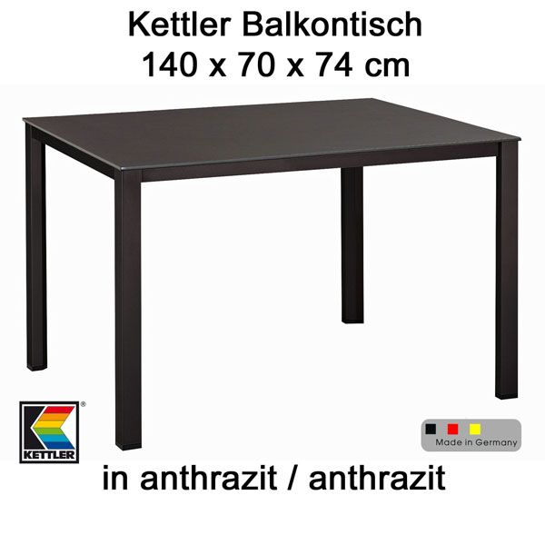 kettler gartentisch 140 x 70 cm balkontisch aluminium tisch mit kettalux platte ebay. Black Bedroom Furniture Sets. Home Design Ideas