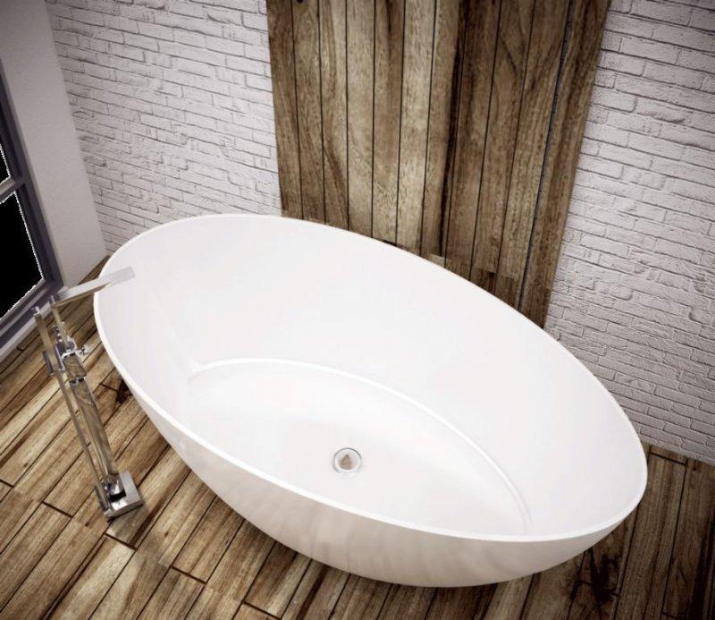 freistehende badewanne aus mineralguss 154x80x62 cm weiss design tre naka24. Black Bedroom Furniture Sets. Home Design Ideas