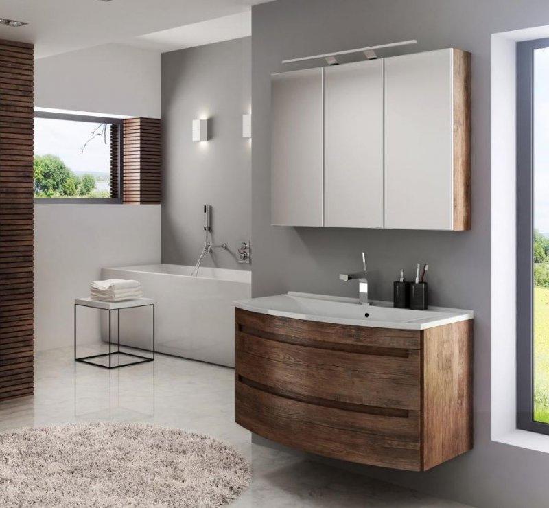 badm bel set dynamic plus 90 cm led badezimmer m bel badset mit waschbecken ebay. Black Bedroom Furniture Sets. Home Design Ideas