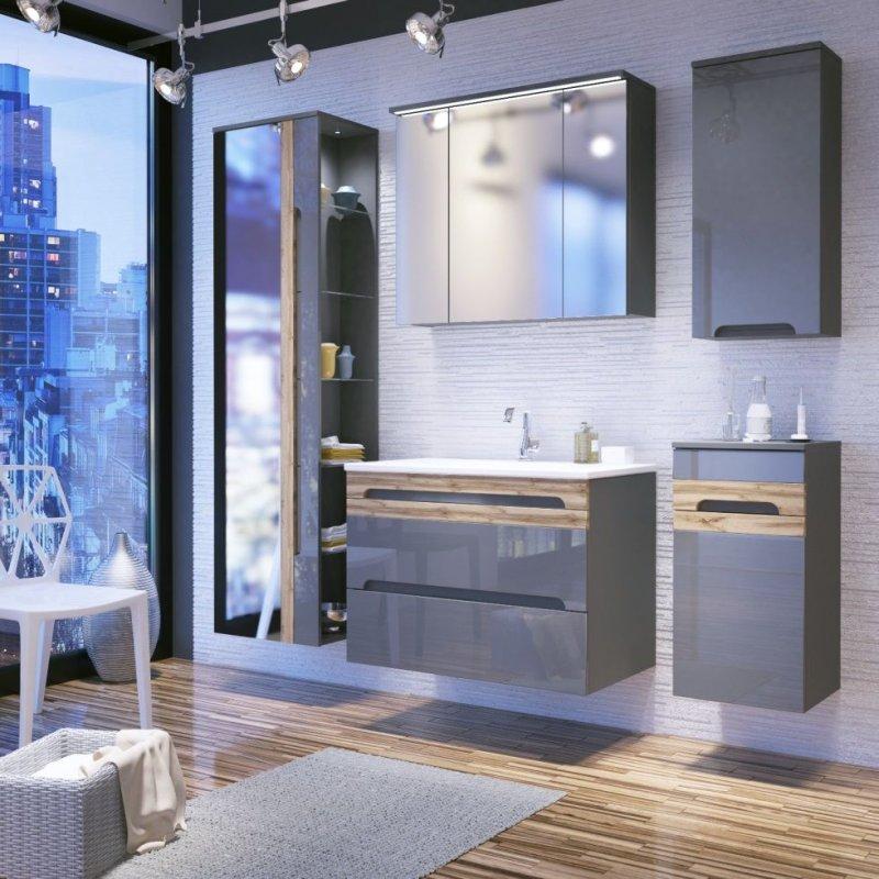 badm bel set galaxy v 80 mit waschbecken keramik grau hochglanz eiche matt led ebay. Black Bedroom Furniture Sets. Home Design Ideas