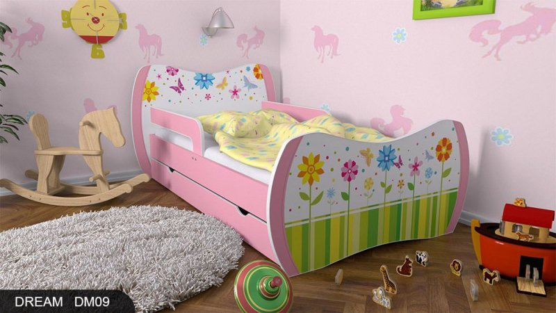 dm kinderbett rosa mit matratze bettkasten und lattenrost. Black Bedroom Furniture Sets. Home Design Ideas