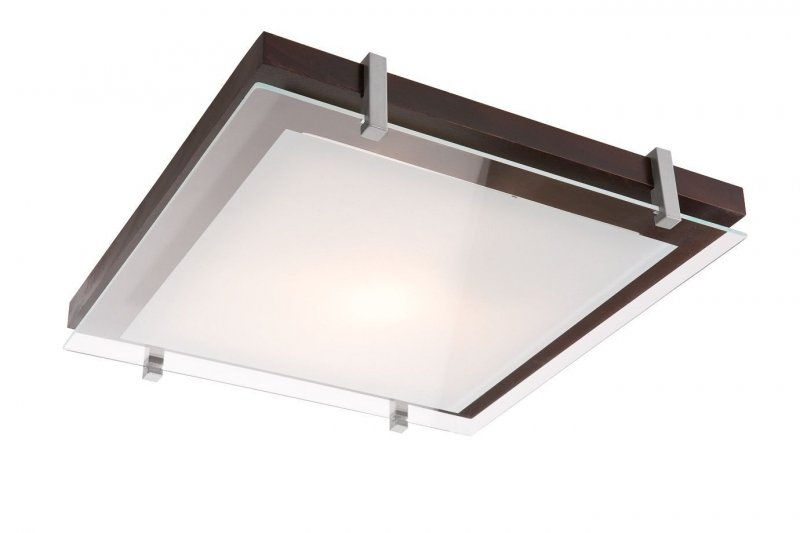 Deckenleuchte deckenlampe holz glas mod pd e27 eckig ebay for Holz deckenlampe