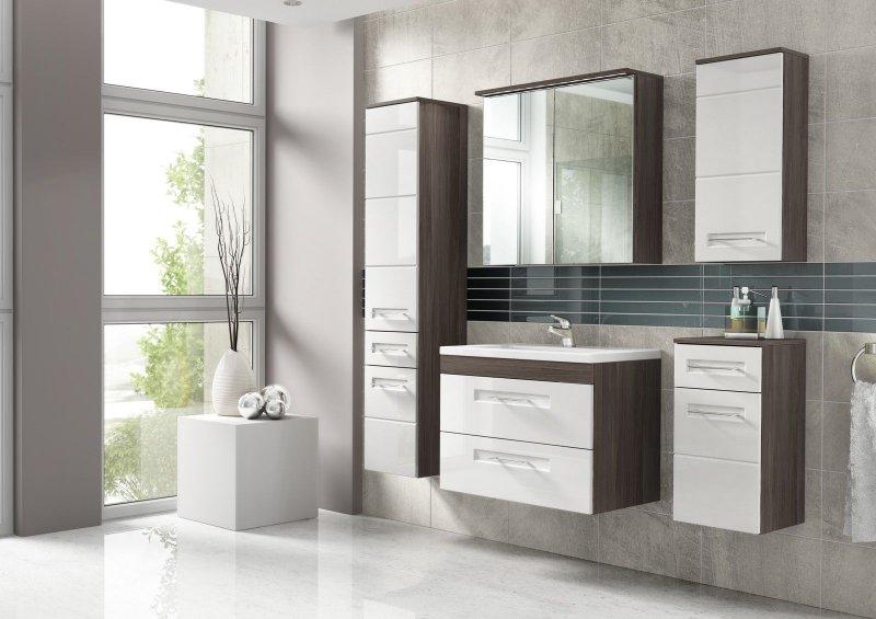 badm bel set cosmo 60 cm weiss badezimmer mit waschbecken badezimmerm bel led ebay. Black Bedroom Furniture Sets. Home Design Ideas