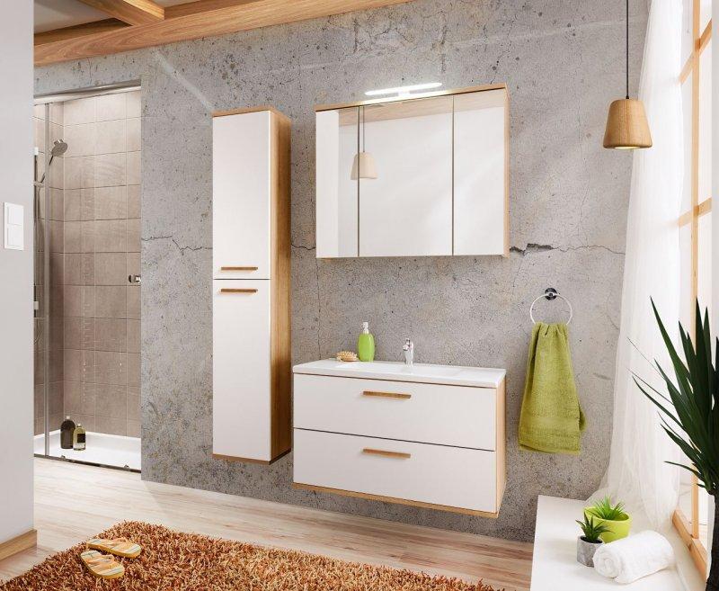 badm bel remik 80 mit waschbecken keramik weiss eiche verschiedene kombinationen naka24. Black Bedroom Furniture Sets. Home Design Ideas
