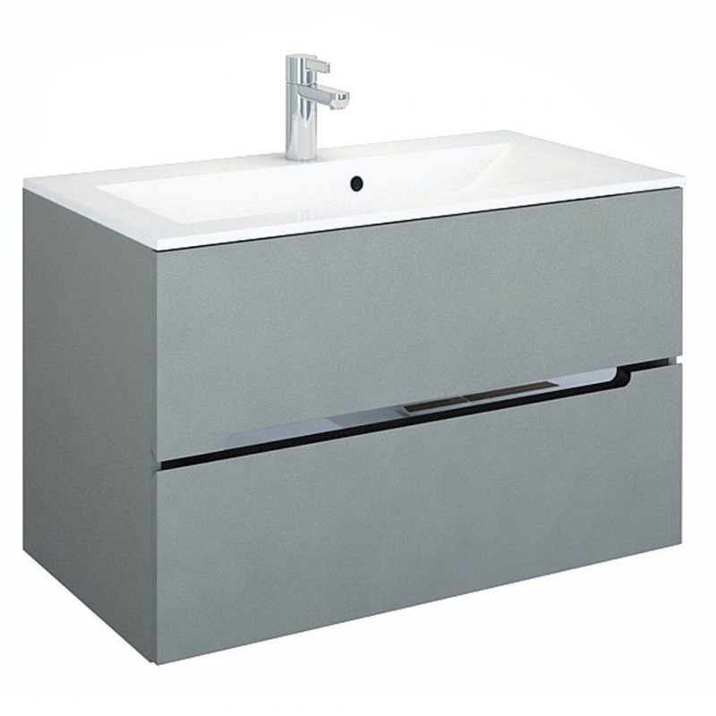 badm bel set silver grau 90 mit waschbecken spiegelschrank mdf led naka24. Black Bedroom Furniture Sets. Home Design Ideas