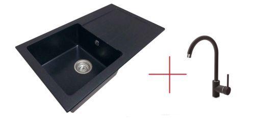 granitsp le mit armatur einbausp le k chensp le mit tropffilter zqi2113 dg015 ebay. Black Bedroom Furniture Sets. Home Design Ideas
