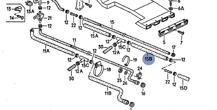 vw t3 bus k hlwasserschlauch heizung r cklauf 251265058. Black Bedroom Furniture Sets. Home Design Ideas