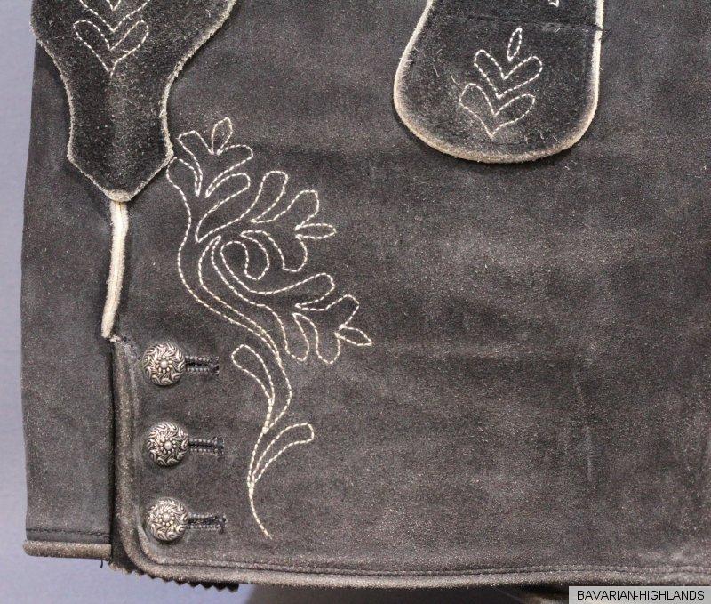 bayerische bestickte kurze schwarze lederhose ebay. Black Bedroom Furniture Sets. Home Design Ideas