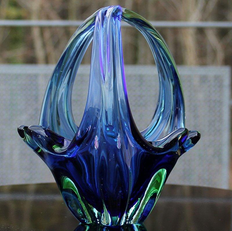 murano glaskorb 3 strahlig blau gr ner farbverlauf 50er 60er jahren ebay. Black Bedroom Furniture Sets. Home Design Ideas