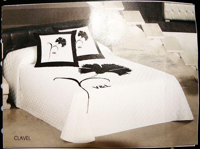 v l suenos tagesdecke wei schwarz 240 x 260 cm bett berwurf ebay. Black Bedroom Furniture Sets. Home Design Ideas