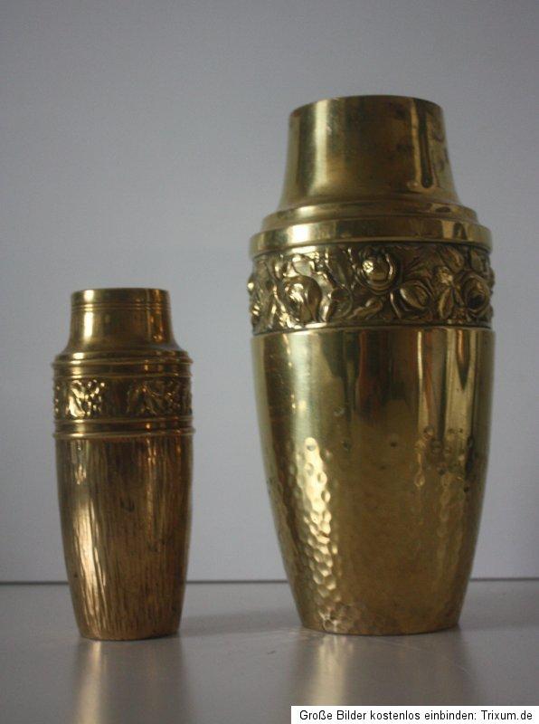 2 stappelbare jugendstil vasen aus messing ca1900 art nouveau vase messingvase ebay. Black Bedroom Furniture Sets. Home Design Ideas