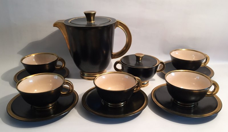 art deco villeroy boch luxembourg robj kaffeeservice 5 personen ebay. Black Bedroom Furniture Sets. Home Design Ideas