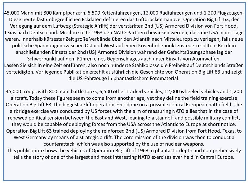 Tankograd NEU /& 3025 BIG LIFT 63 Reforger Luftbrücke