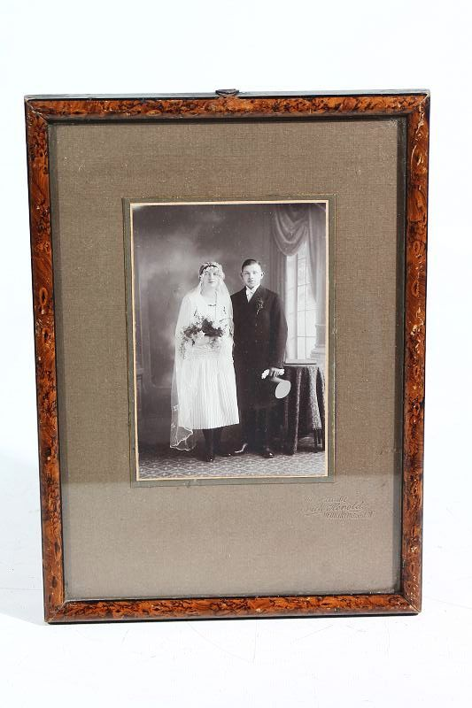 tr s jolie ancien rda cadre photo cadre bois avec tableau 20 x 29cm ebay. Black Bedroom Furniture Sets. Home Design Ideas