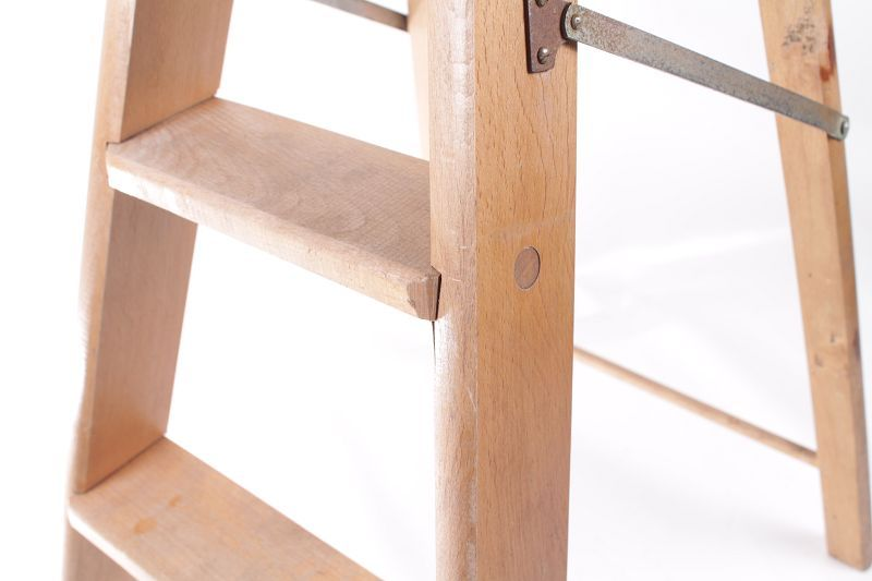 Antiguo escalera de madera plegable mano dise o taburete - Taburete escalera madera ...