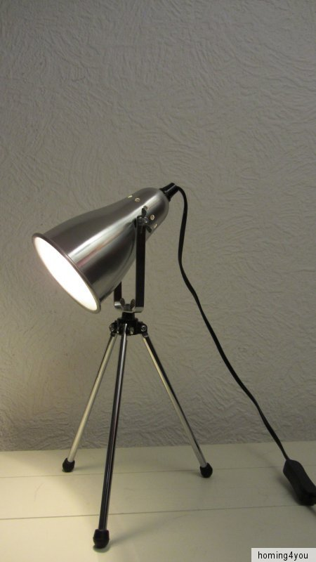 lampe schreibtischlampe tripod fensterbank leuchte dreibein aluminium chrom ebay. Black Bedroom Furniture Sets. Home Design Ideas