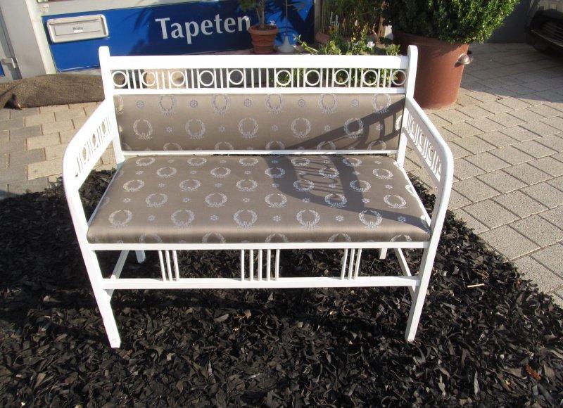 sitzbank jugendstil um 1900 neu gepolstert antik wei. Black Bedroom Furniture Sets. Home Design Ideas