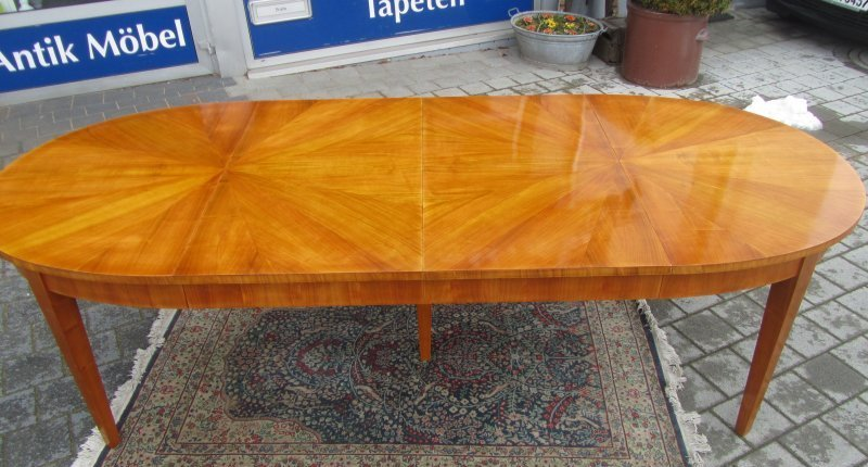 ovaler esstisch um 1920 neu kirschbaum funiert 260 cm tafel hand poliert ebay. Black Bedroom Furniture Sets. Home Design Ideas
