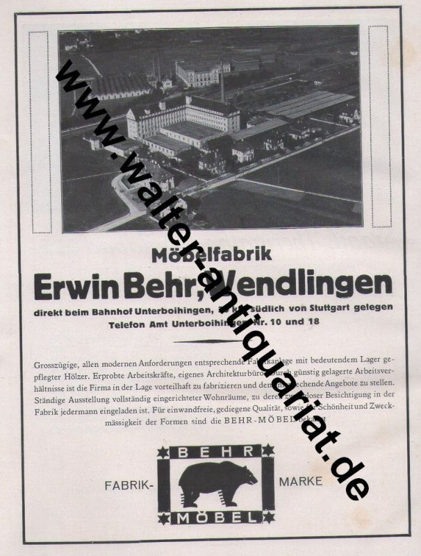 m bel erwin behr wendlingen thermalbad wildbad gro e werbeanzeige 1926 reklame ebay. Black Bedroom Furniture Sets. Home Design Ideas