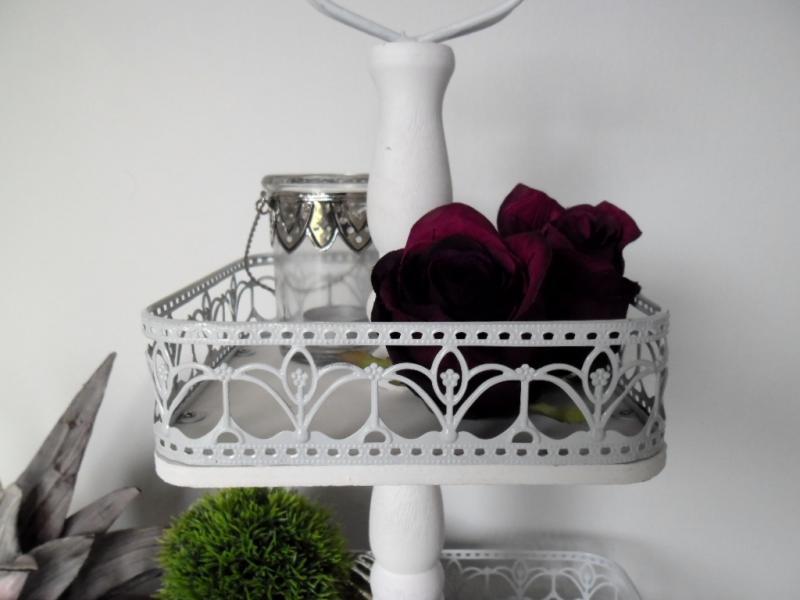 holz etagere metallrand 2 st ckig 48 cm hoch shabby chic. Black Bedroom Furniture Sets. Home Design Ideas