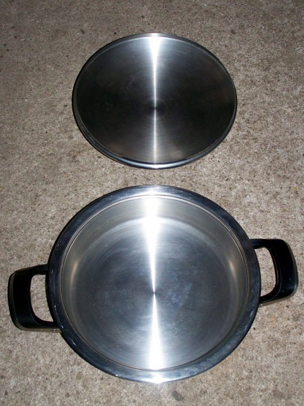 amc classic 24cm edelstahl br ter mit visiotherm deckel stainless frying pot ebay. Black Bedroom Furniture Sets. Home Design Ideas