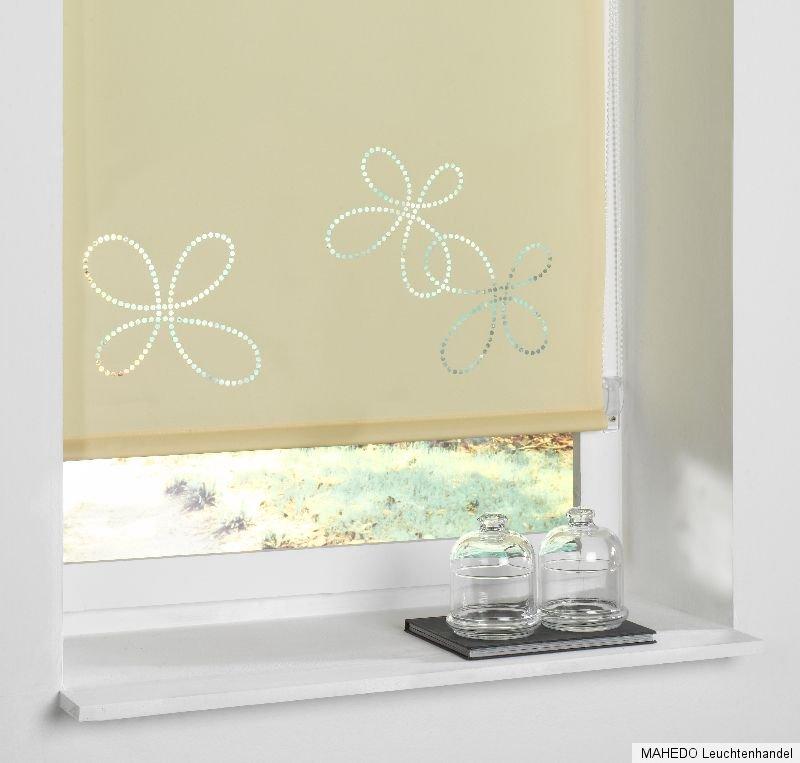design fensterrollo klemmrollo zug klemm rollo muster blumen beige 80 x 150 cm ebay. Black Bedroom Furniture Sets. Home Design Ideas