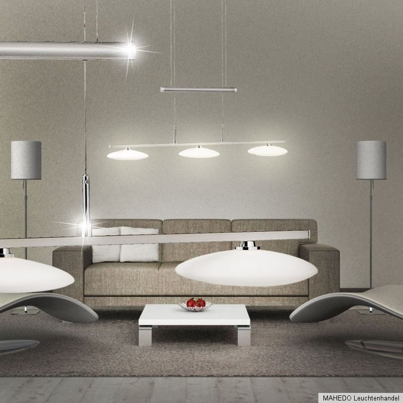 h ngeleuchte h ngelampe pendellampe gegengewicht maron 3 x led nickel opal glas ebay. Black Bedroom Furniture Sets. Home Design Ideas
