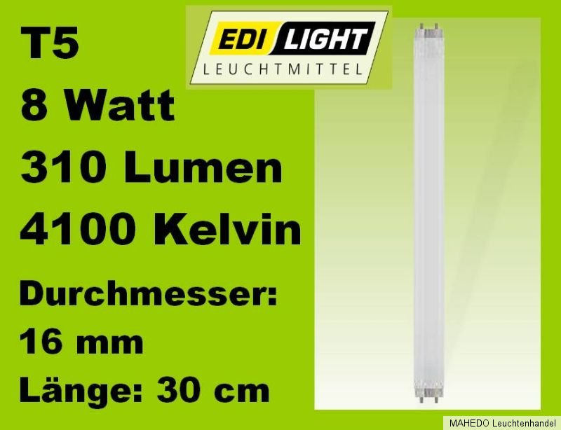 leuchtstoffr hre leuchtstofflampe energiesparr hre 8w g5 t5 wei 16mm 300mm 300 ebay. Black Bedroom Furniture Sets. Home Design Ideas