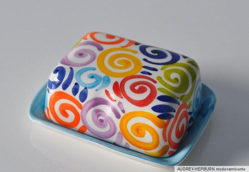 bassano keramik butterdose bunte spiralen azurblau mediterranes geschirr ebay. Black Bedroom Furniture Sets. Home Design Ideas