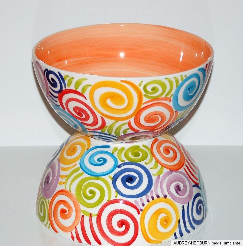 mediterranes geschirr grosse sch ssel 26 5 cm spirale orange bassano keramik ebay. Black Bedroom Furniture Sets. Home Design Ideas