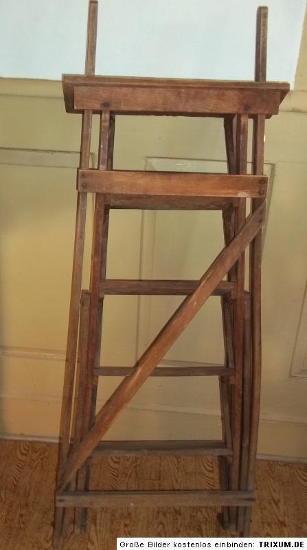alte holzleiter leiter bibliotheksleiter 5 stufen 95cm haltestab ebay. Black Bedroom Furniture Sets. Home Design Ideas